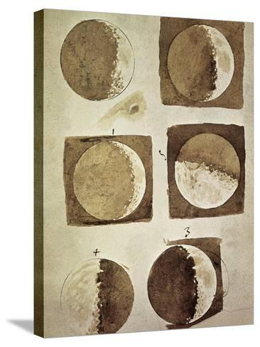 Depiction of the Different Phases of the Moon Viewed from the Earth-Galileo-Stretched Canvas Print