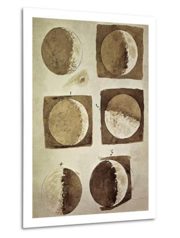 Depiction of the Different Phases of the Moon Viewed from the Earth-Galileo-Metal Print
