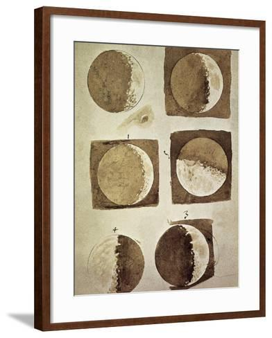 Depiction of the Different Phases of the Moon Viewed from the Earth-Galileo-Framed Art Print