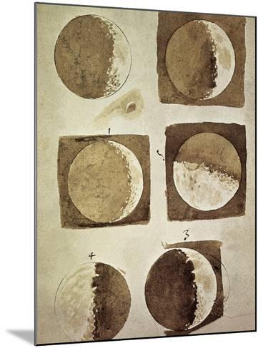 Depiction of the Different Phases of the Moon Viewed from the Earth-Galileo-Mounted Art Print