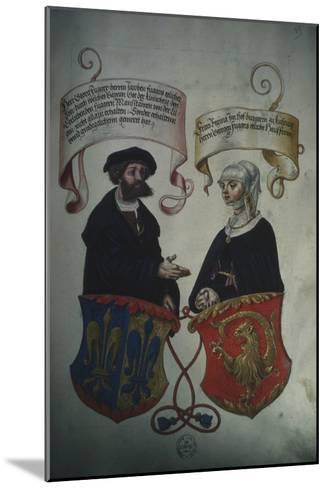 Georg Fugger and His Wife Regina Imhoff, from 'Geheim Ehrenbuch Des Fuggerschen Geschlechts'-German School-Mounted Giclee Print