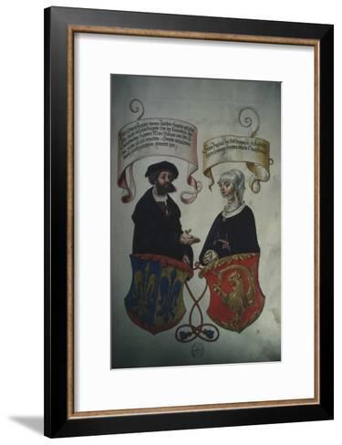 Georg Fugger and His Wife Regina Imhoff, from 'Geheim Ehrenbuch Des Fuggerschen Geschlechts'-German School-Framed Art Print
