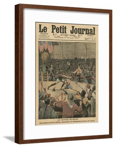 The Victory of the Negro, Jack Johnson Knocks Jim Jeffries Out at the World Boxing Championship-French School-Framed Art Print
