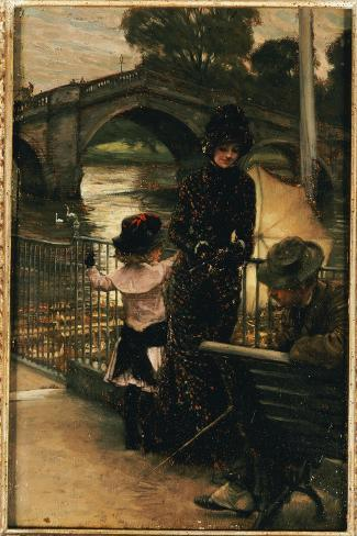 The Artist, Mrs. Kathleen Newton and Her Niece, Lilian Hervey, by the Thames at Richmond, 1878-79-James Tissot-Stretched Canvas Print