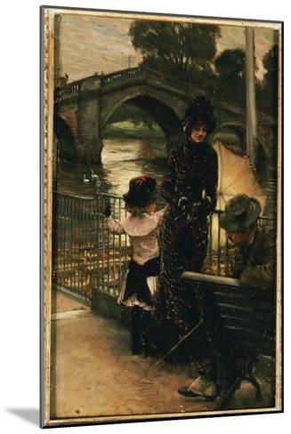 The Artist, Mrs. Kathleen Newton and Her Niece, Lilian Hervey, by the Thames at Richmond, 1878-79-James Tissot-Mounted Giclee Print