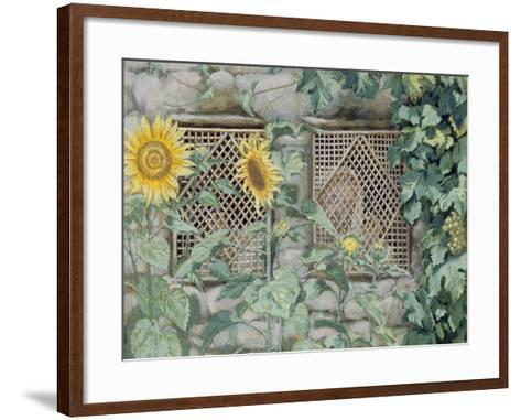 Jesus Looking Through a Lattice with Sunflowers, Illustration for 'The Life of Christ', C.1886-96-James Tissot-Framed Art Print