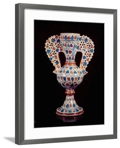 Tin-Glazed Vase with Lustre Decoration, Hispano-Moresque, Valencia, 3rd Quarter of 15th Century-Spanish School-Framed Art Print