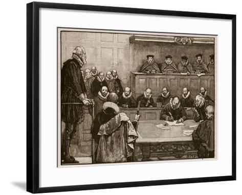 Sir Walter Raleigh before the Judges, Illustration from 'Cassell's Illustrated History of England'-English School-Framed Art Print