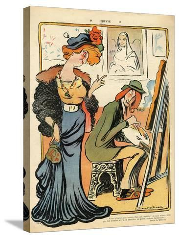 Phryne: Caricature of an Artist's Model, from the Back Cover of 'Le Rire', 23rd February 1907- Metivet-Stretched Canvas Print