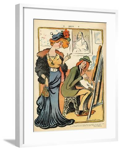 Phryne: Caricature of an Artist's Model, from the Back Cover of 'Le Rire', 23rd February 1907- Metivet-Framed Art Print
