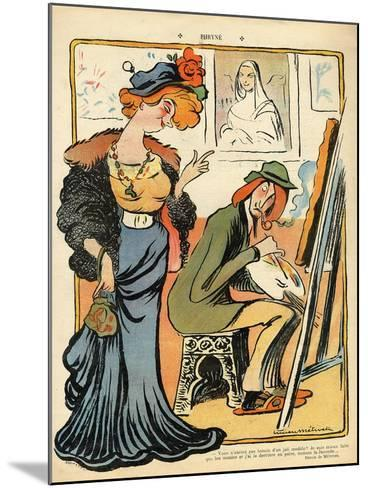 Phryne: Caricature of an Artist's Model, from the Back Cover of 'Le Rire', 23rd February 1907- Metivet-Mounted Giclee Print