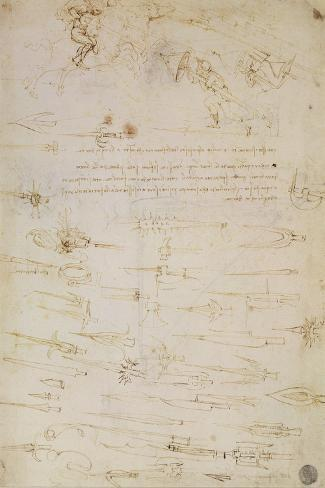 Sheet of Studies of Foot Soldiers and Horsemen in Combat, and Halbards, 1485-1488-Leonardo da Vinci-Stretched Canvas Print