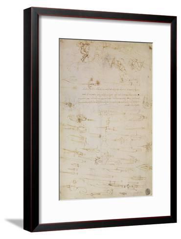 Sheet of Studies of Foot Soldiers and Horsemen in Combat, and Halbards, 1485-1488-Leonardo da Vinci-Framed Art Print