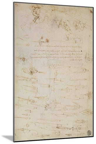 Sheet of Studies of Foot Soldiers and Horsemen in Combat, and Halbards, 1485-1488-Leonardo da Vinci-Mounted Giclee Print