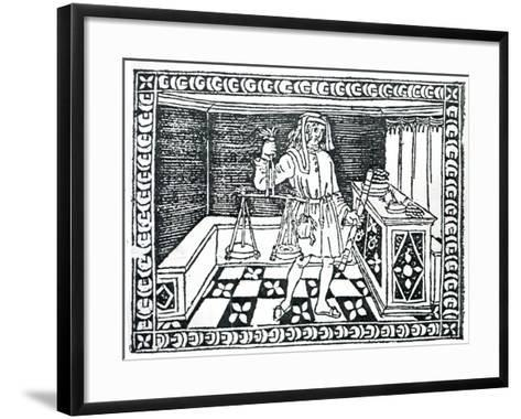 Money Changer, Illustration from 'Libro Di Givocho Di Scacchi' by Jacobus De Cessolis, 1493-Italian School-Framed Art Print