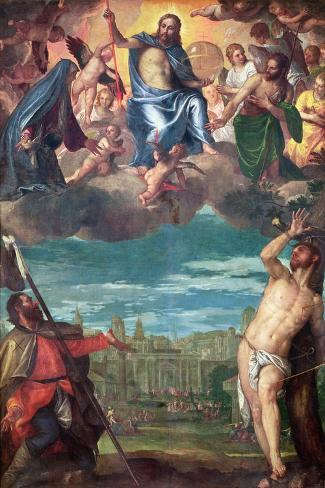 Christ Arresting the Plague with the Prayers of the Virgin, St. Rocco and St. Sebastian-Paolo Veronese-Stretched Canvas Print