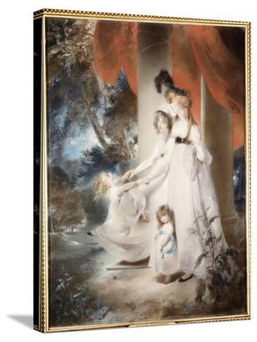 Portrait of Mrs Ayscoghe Boucherett with Her Two Eldest Children, Emilia and Ayscoghe-Thomas Lawrence-Stretched Canvas Print