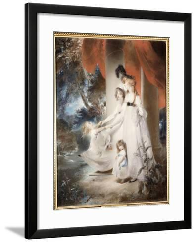 Portrait of Mrs Ayscoghe Boucherett with Her Two Eldest Children, Emilia and Ayscoghe-Thomas Lawrence-Framed Art Print