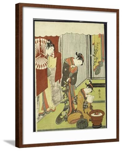 Figures in an Interior, a Courtesan Looking at Her Shinzo Who Is Reading a Love Letter-Suzuki Harunobu-Framed Art Print