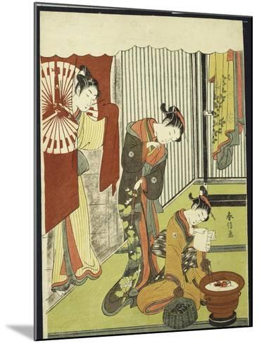 Figures in an Interior, a Courtesan Looking at Her Shinzo Who Is Reading a Love Letter-Suzuki Harunobu-Mounted Giclee Print