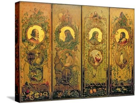 A Four Leaf Screen with Portraits of Shakespeare, Milton, Chaucer and Spenser-Scott-Stretched Canvas Print