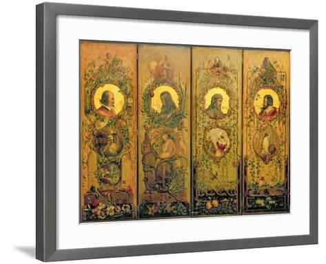 A Four Leaf Screen with Portraits of Shakespeare, Milton, Chaucer and Spenser-Scott-Framed Art Print
