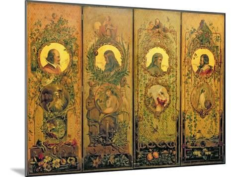 A Four Leaf Screen with Portraits of Shakespeare, Milton, Chaucer and Spenser-Scott-Mounted Giclee Print