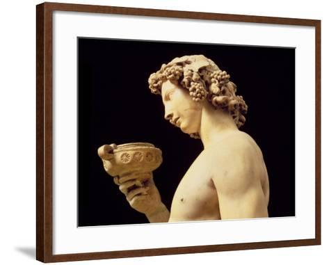 The Drunkenness of Bacchus, Detail of His Head, Sculpture by Michelangelo Buonarroti-Michelangelo Buonarroti-Framed Art Print
