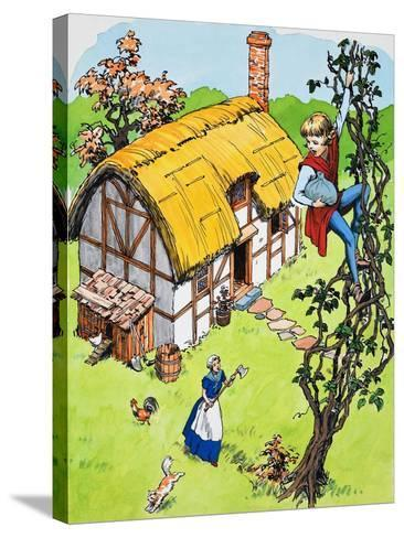 Jack Climbs Down the Beanstalk, Illustration from 'Jack and the Beanstalk', 1969-English School-Stretched Canvas Print