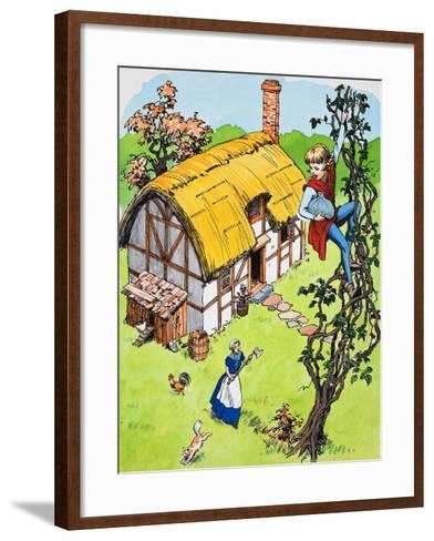 Jack Climbs Down the Beanstalk, Illustration from 'Jack and the Beanstalk', 1969-English School-Framed Art Print