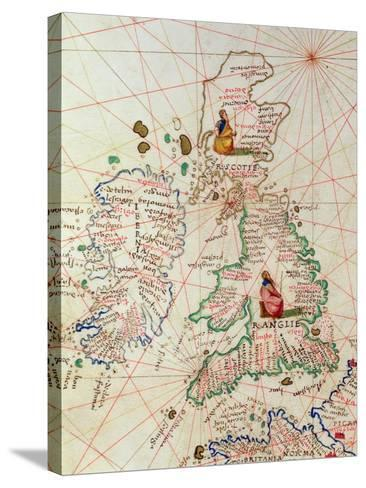The Kingdoms of England and Scotland, from an Atlas of the World in 33 Maps, Venice-Battista Agnese-Stretched Canvas Print