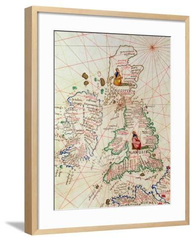 The Kingdoms of England and Scotland, from an Atlas of the World in 33 Maps, Venice-Battista Agnese-Framed Art Print