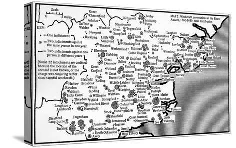 Map Showing Locations of Prosecutions for Witchcraft at Assizes in Essex 1560-1680-English School-Stretched Canvas Print
