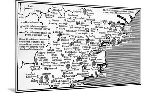 Map Showing Locations of Prosecutions for Witchcraft at Assizes in Essex 1560-1680-English School-Mounted Giclee Print