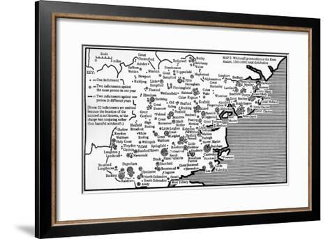Map Showing Locations of Prosecutions for Witchcraft at Assizes in Essex 1560-1680-English School-Framed Art Print