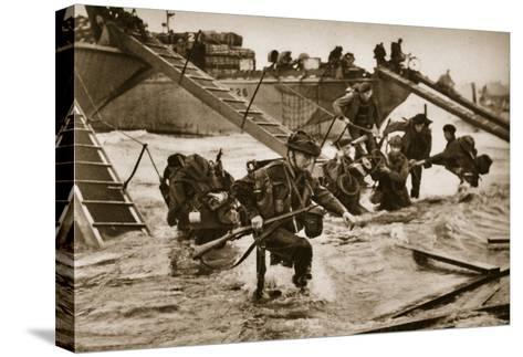 The First British Troops Disembark from the Specially Designed Landing Ladders-English Photographer-Stretched Canvas Print