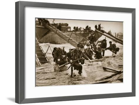 The First British Troops Disembark from the Specially Designed Landing Ladders-English Photographer-Framed Art Print