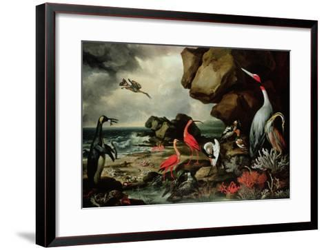A Penguin, a Pair of Flamingoes, and Other Exotic Birds, Shells, and Coral on the Shoreline-Philip Reinagle-Framed Art Print