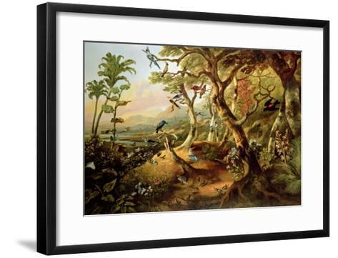Exotic Birds and Insects Among Trees and Foliage in a Mountainous River Landscape-Philip Reinagle-Framed Art Print