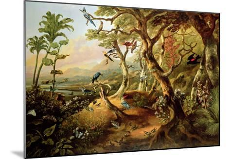 Exotic Birds and Insects Among Trees and Foliage in a Mountainous River Landscape-Philip Reinagle-Mounted Giclee Print