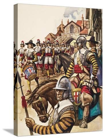 A Group of Pikemen of the New Model Army March into Battle Led by a Drummer-Peter Jackson-Stretched Canvas Print
