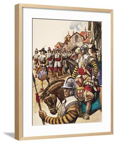 A Group of Pikemen of the New Model Army March into Battle Led by a Drummer-Peter Jackson-Framed Art Print
