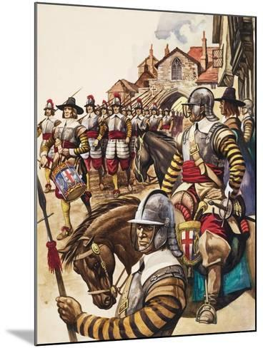 A Group of Pikemen of the New Model Army March into Battle Led by a Drummer-Peter Jackson-Mounted Giclee Print