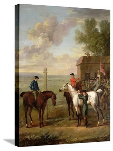 Racehorses with Jockeys Up by the Rubbing Down House on Newmarket Heath-John Wootton-Stretched Canvas Print