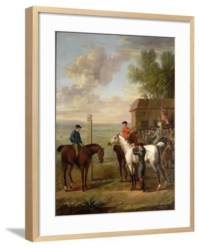 Racehorses with Jockeys Up by the Rubbing Down House on Newmarket Heath-John Wootton-Framed Art Print