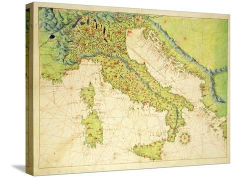 Italy, from an Atlas of the World in 33 Maps, Venice, 1st September 1553-Battista Agnese-Stretched Canvas Print
