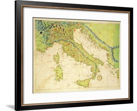 Italy, from an Atlas of the World in 33 Maps, Venice, 1st September 1553-Battista Agnese-Framed Art Print