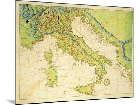 Italy, from an Atlas of the World in 33 Maps, Venice, 1st September 1553-Battista Agnese-Mounted Giclee Print