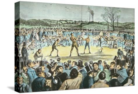 Tom Sayers V. John Heenan at Farnborough, England on 17th April, 1860-English School-Stretched Canvas Print