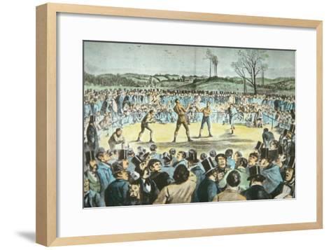 Tom Sayers V. John Heenan at Farnborough, England on 17th April, 1860-English School-Framed Art Print